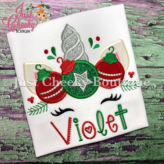 Christmas Ornaments Unicorn Embroidered Christmas Shirt-Kids Christmas Shirt -Girls Christmas Shirt -Unicorn Christmas