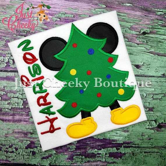 Mouse Ears Christmas Tree Embroidered Shirt - Kids Christmas Shirt - Mickey Mouse Christmas Shirt - Boys Christmas Shirt