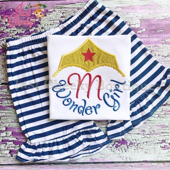 Wonder Girl Inspired Short Set - Wonder Woman Embroidered Shirt - Wonder Woman Party - Wonder Woman Birthday Shirt - Wonder Woman Short Set