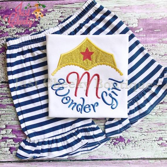 Wonder Girl Inspired Short Set - Wonder Woman Embroidered Shirt - Wonder Woman Party - Wonder Woman Birthday Shirt - Wonder Woman Short Set