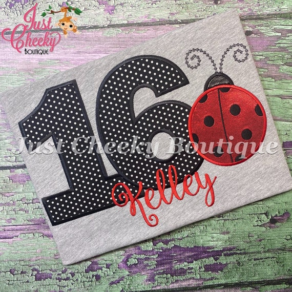 Ladybug Birthday Embroidered Shirt - Ladybug Good Luck -Red Polka Dots - Insect Birthday Shirt -