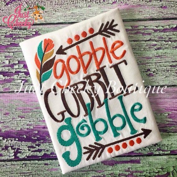 Gobble Gobble Gobble Embroidered Thanksgiving Shirt - Boys Thanksgiving Shirt - Fall Shirt - Turkey Day Shirt