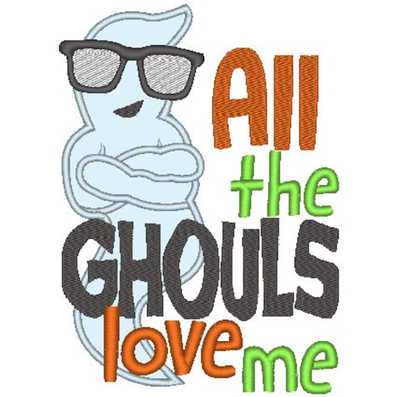 SAMPLE SALE, All the Ghouls Love Me Embroidered Halloween Shirt - Boys Halloween Shirt - Girls Halloween Shirt - Fall Shirt