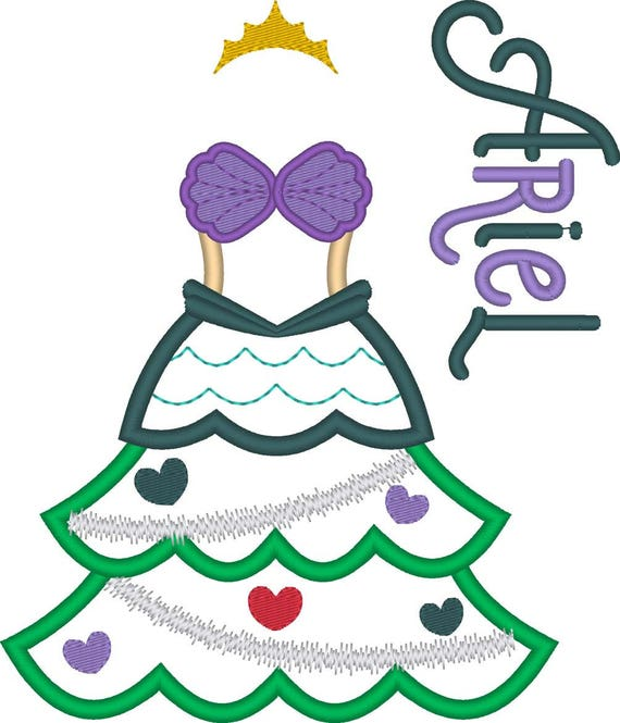 SAMPLE SALE, Ariel Christmas Tree Embroidered Shirt - The Little Mermaid - Disney Princess - Disney Christmas Vacation -Very Merry Christmas