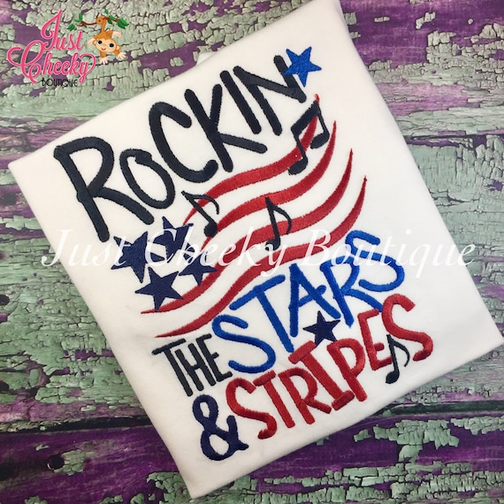 Rockin the Stars and Stripes - Girls 4th of July Shirt - Boys 4th of July Shirt - Kids Patriotic Shirt - Independence Day Shirt