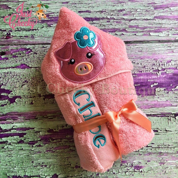 Pig Cutie Hooded Towel - 3 Little Pigs Hooded Towel - Beach Towel - Swim Towel - Hooded Towel Gift - Birthday Present - Piggie Birthday Gift