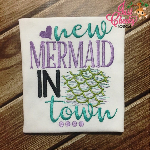 New Mermaid In Town - Mermaid Emroidered Shirt - Girls Mermaid Shirt - New Baby - Baby Mermaid - The Little Mermaid - Mermaid Life