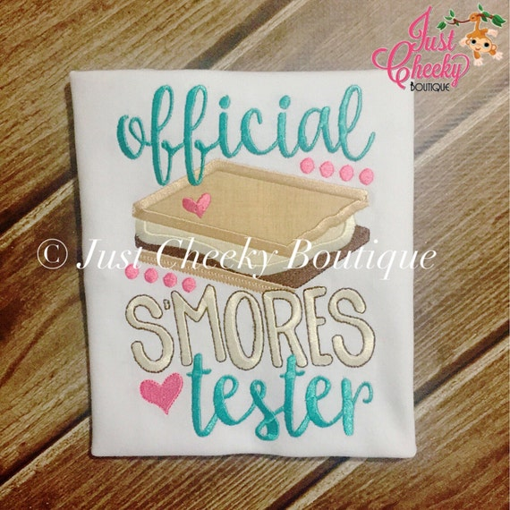 Official S'Mores Tester - S'Mores Embroidered Shirt - Summer Camp - Camping Shirt - Boys S'Mores Shirt - Girls S'Mores Shirt