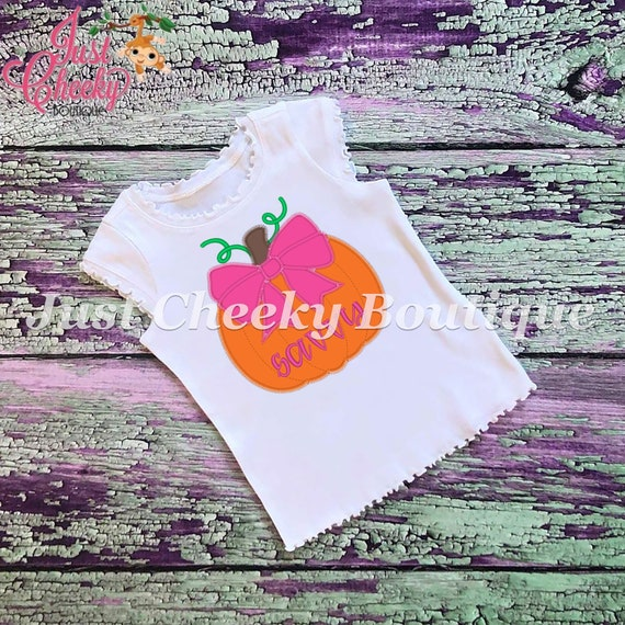 SAMPLE SALE, Pumpkin With Bow Embroidered Halloween Shirt - Boys Halloween Shirt - Girls Halloween Shirt - Fall Shirt - Autumn Shirt