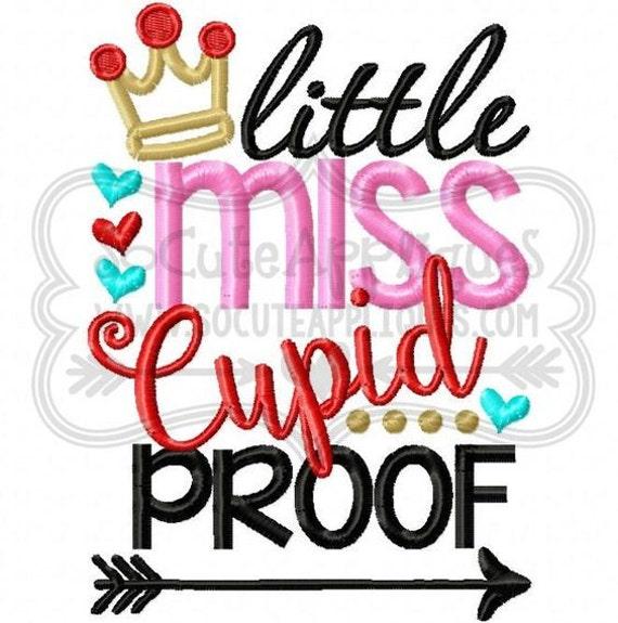 SAMPLE SALE, Little Miss Cupid Proof -  Valentine's Day Embroidered Shirt - Girls Valentine's  Shirt - Boys Valentine's Shirt - February 14