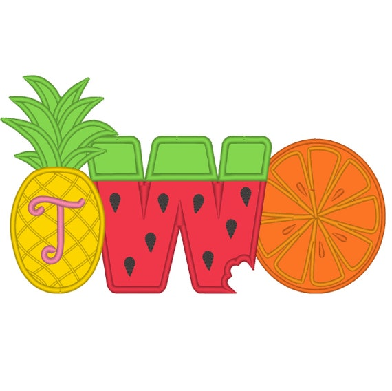 SAMPLE SALE, Tutti Frutti Embroidered Birthday Shirt - Second Birthday Shirt -2nd Birthday Shirt-Twotti Frutti-Pineapple-Watermelon-Orange