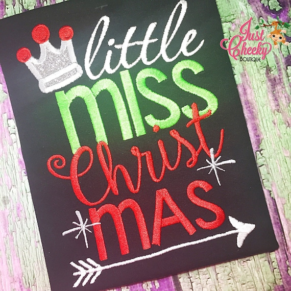 Little Miss Christmas Embroidered Shirt - Christmas Shirt - Girls Christmas Shirt - Boys Christmas Shirt