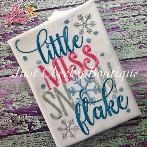 Little Miss Snowflake Embroidered Shirt - Christmas Shirt - Girls Christmas Shirt - Boys Christmas Shirt