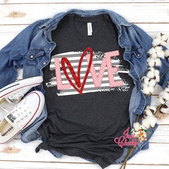 Love Heart Shirt-Mom Shirt-Valentine's Day Shirt-February 14 Shirt-Cupid Shirt-Leopard Print Shirt-Black and White Stripe