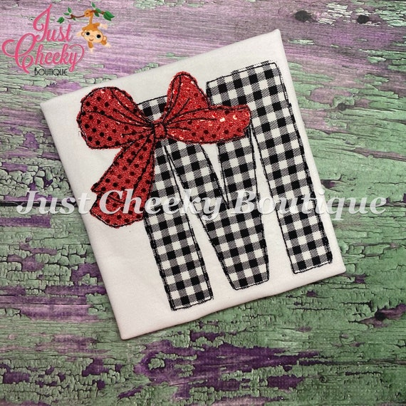 Big Bow Initial Embroidered Girls Shirt-Girls Embroidered Shirt-Girls Birthday Shirt-Over The Top Bow-JoJo Bow-Buffalo Plaid