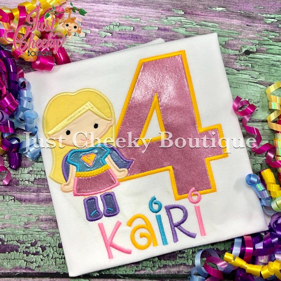 Super Girl Inspired Cutie Birthday Shirt - Superhero Embroidered Shirt - Superhero Birthday