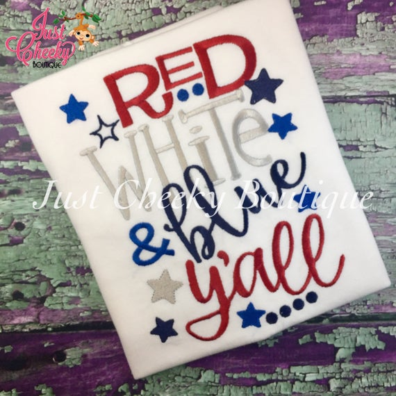 Red White & Blue Y'all - Girls 4th of July Shirt - Boys 4th of July Shirt - Kids Patriotic Shirt - Independence Day Shirt