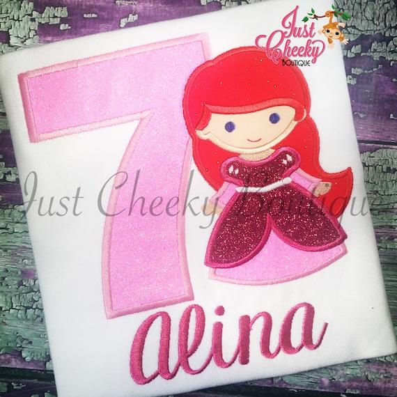 Princess Ariel Inspired Cutie Embroidered Shirt - The Little Mermaid - Princess Ariel - Disney Vacation - Disney Birthday