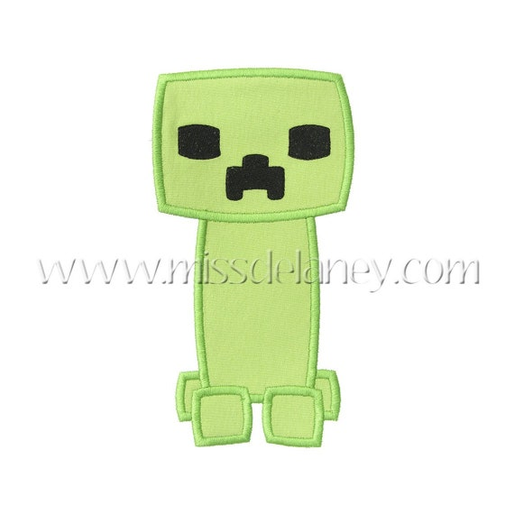 SAMPLE SALE, Pixel Cutie Creeper Embroidered Shirt - Minecraft Inspired Shirt - Steve - Enderman - Pixel Games