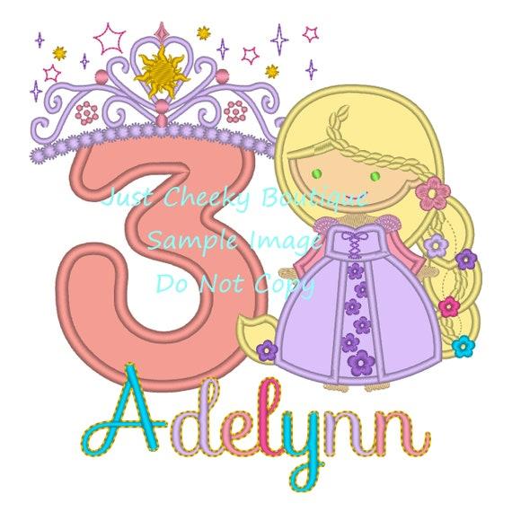Princess Rapunzel with Braid - Rapunzel Inspired Embroidered Shirt - Disney Girls Shirt - Disney Princess Birthday Shirt