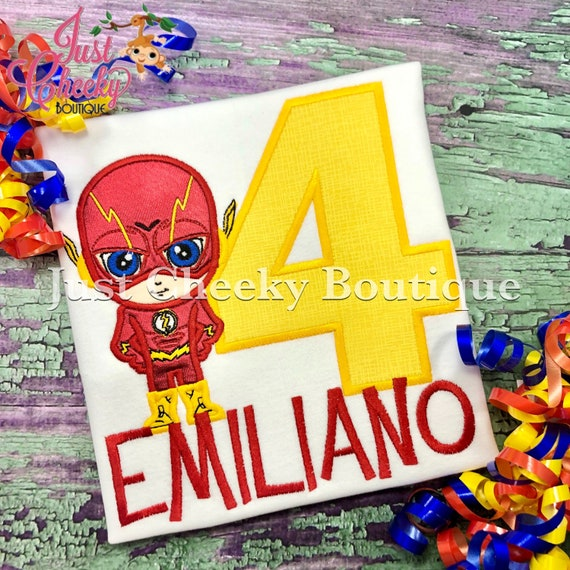 The Flash Cutie Embroidered Shirt - DC Comics Inspired - Superhero Birthday Shirt - The Flash Birthday Shirt - Boys Birthday Shirt