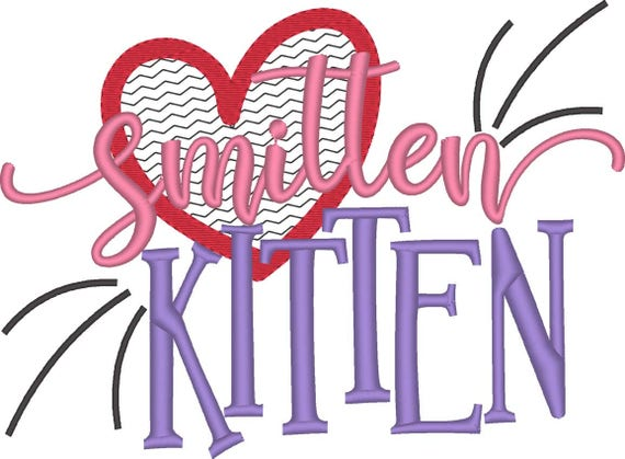SAMPLE SALE, Smitten Kitten -  Valentine's Day Embroidered Shirt - Girls Valentine's  Shirt - Boys Valentine's Shirt - February 1
