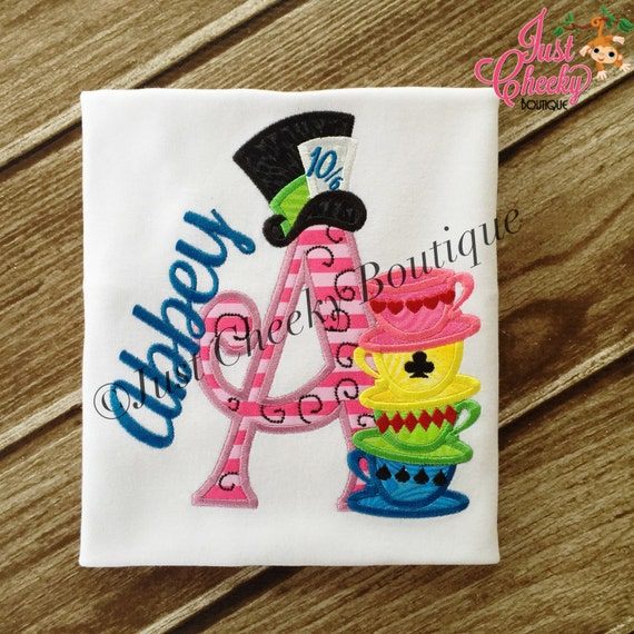Mad Hatter Inspired Embroidered Shirt - Alice in Wonderland - White Rabbit - Tea Party - 1st Disney Trip - Disney Vacation