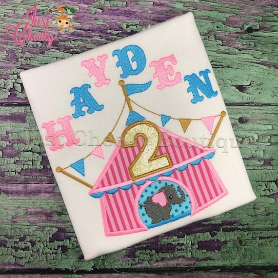 Circus Tent embroidered shirt - Circus Birthday Shirt - Circus Elephant Birthday Shirt - Ringleader