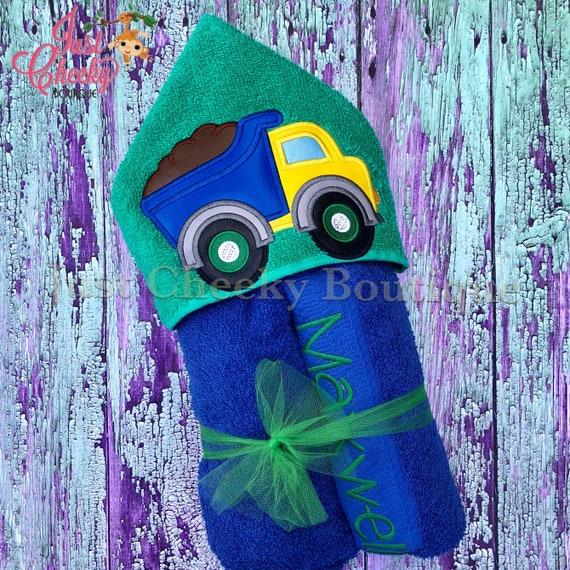 Dump Truck Hooded Towel - Vehicle Hooded Towel - Beach Towel - Swim Towel - Construction Towel - Hooded Towel Gift - Birthday Present