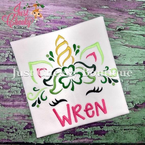 St Patrick's Day Unicorn Horn Embroidered Shirt - Unicorn Horn - Unicorn Face - Unicorn Eyelashes - Unicorn Birthday Shirt