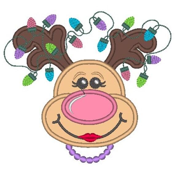 SAMPLE SALE, Reindeer Girl with Necklace Embroidered Shirt - Christmas Shirt - Girls Christmas Shirt - Boys Christmas Shirt