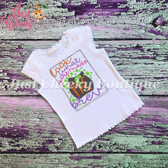 SAMPLE SALE, Look What You Made Me Brew Embroidered Halloween Shirt - Boys Halloween Shirt - Girls Halloween Shirt - Fall Shirt