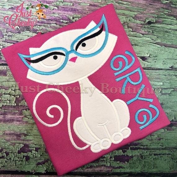 White Cat Embroidered Shirt - Girls Cat Shirt - Girls Kitty Shirt - Girls Nerdy Kitty Shirt