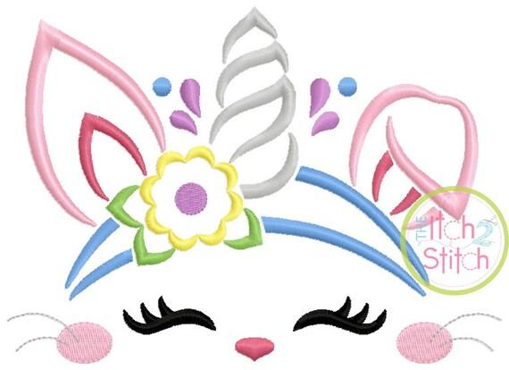 SAMPLE SALE, Bunny Unicorn Embroidered Shirt - Unicorn Horn - Unicorn Face - Unicorn Eyelashes