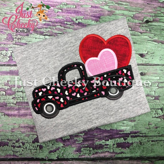Vintage Truck Hearts -  Valentine's Day Embroidered Shirt - Girls Valentine's  Shirt - Boys Valentine's Shirt - February 14
