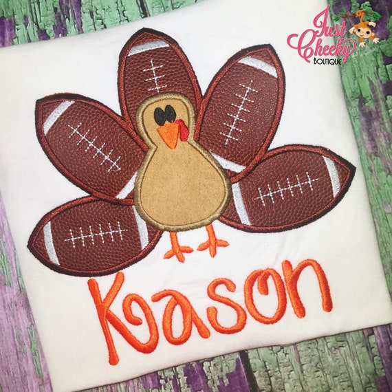 Football Turkey Embroidered Thanksgiving Shirt - Boys Thanksgiving Shirt - Fall Shirt - Turkey Day Shirt - Football Season -Turkey Ball Game