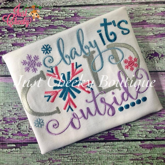 Baby It's Cold Outside Embroidered Shirt - Christmas Shirt - Girls Christmas Shirt - Boys Christmas Shirt