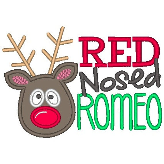 SAMPLE SALE, Red Nosed Romeo Embroidered Shirt - Christmas Shirt - Girls Christmas Shirt - Boys Christmas Shirt
