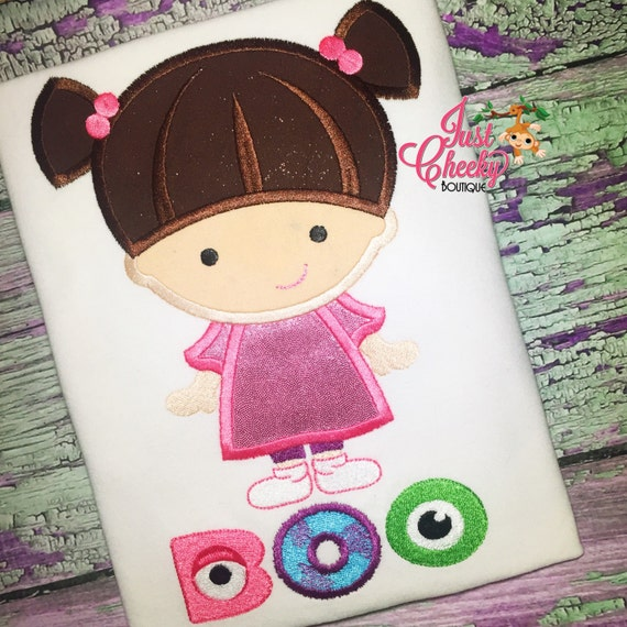 Boo - Monsters Inc Inspired Embroidered Shirt - Monstropolis - Disney Girls Shirt - Disney Birthday Shirt