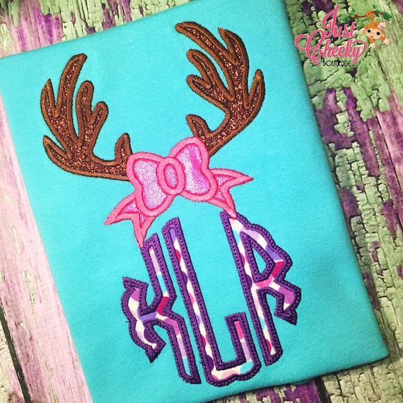 Bow Antlers Monogram Embroidered Shirt - Daddy's Little Dear - Deer Season Shirt - Deer Hunting - White-Tail Deer