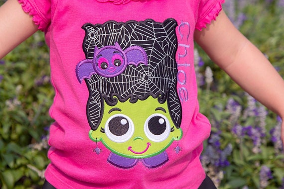 Franken Girl Embroidered Halloween Shirt - Kids Halloween Shirt - Girls Halloween Shirt - Fall Shirt - Frankenstein