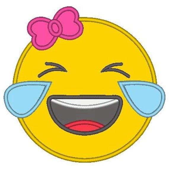 SAMPLE SALE, Laughing with Tears Girl Emoji Embroidered Shirt - Emoji Birthday - Emoji Birthday Shirt - Emoji Party - Emoji Movie