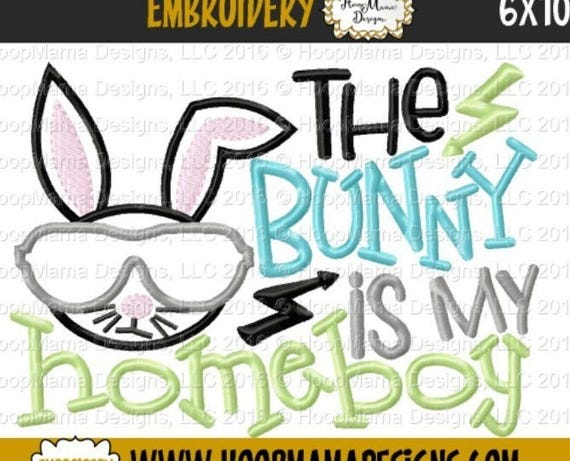 SAMPLE SALE, The Bunny Is My Homeboy - Kids Easter Embroidered Shirt -Girls Easter Shirt -Boys Easter Shirt  -Easter Sunday