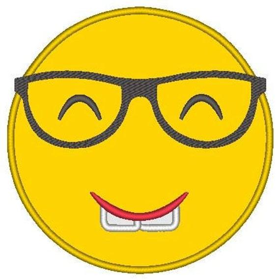SAMPLE SALE, Nerd Emoji Embroidered Shirt - Emoji Birthday - Emoji Birthday Shirt - Emoji Party - Emoji Movie