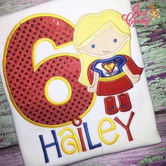 Super Girl Inspired Cutie Birthday Shirt - Superhero Embroidered Shirt - Superhero Birthday - Supergirl Birthday Shirt