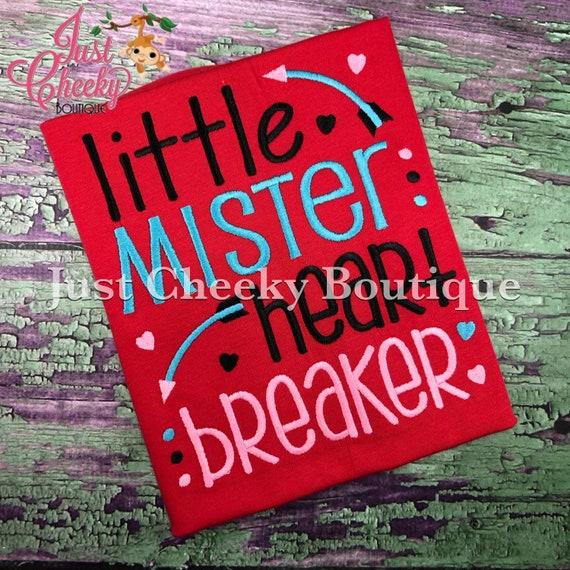 Little Mister Heart Breaker -  Valentine's Day Embroidered Shirt - Girls Valentine's  Shirt - Boys Valentine's Shirt - February 14