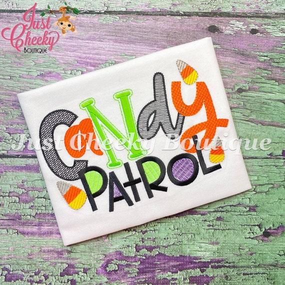 Candy Patrol Embroidered Halloween Shirt - Kids Halloween Shirt - Boys Halloween Shirt - Fall Shirt - Candy Corn