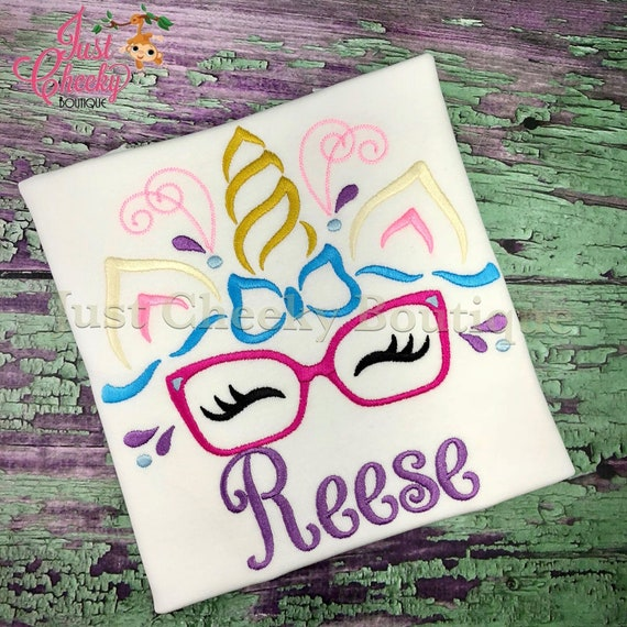 Unicorn Horn With Glasses Embroidered Shirt - Unicorn Horn - Unicorn Face - Unicorn Eyelashes - Unicorn Birthday Shirt