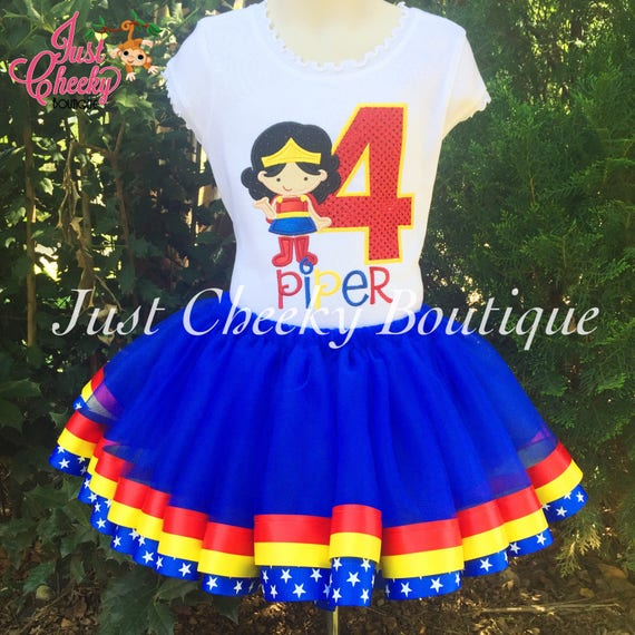 Wonder Woman Birthday Outfit -Wonder Woman Birthday Shirt -DC Superhero Girls Birthday -Supergirl Party-Girls Birthday Shirt -Superhero Tutu