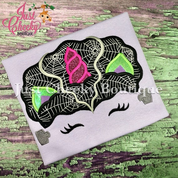 Bride of Frankenstein Unicorn Embroidered Halloween Shirt -Kids Halloween Shirt -Girls Halloween Shirt -Unicorn Halloween Shirt